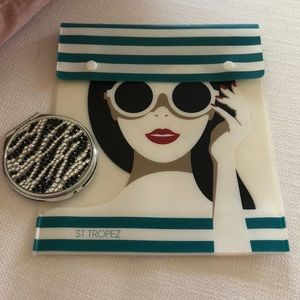 St. Tropez pouch w/ crystal compact mirror